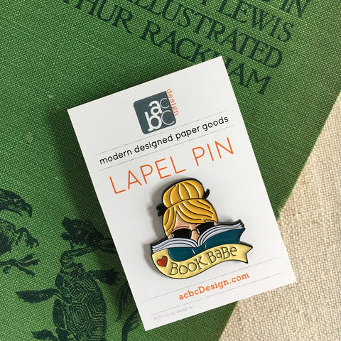 Blonde Book Babe Enamel Lapel Pin