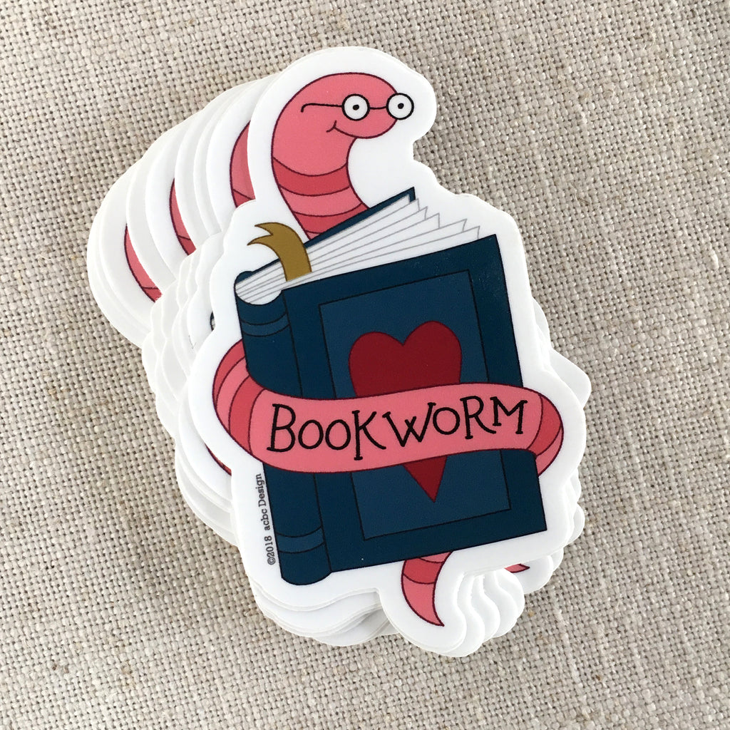 Bookworm Vinyl Sticker