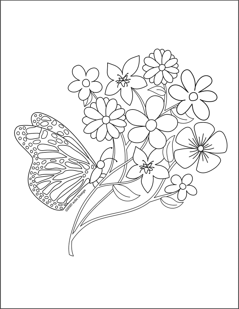 Butterfly Flowers Coloring Page - Digital Download