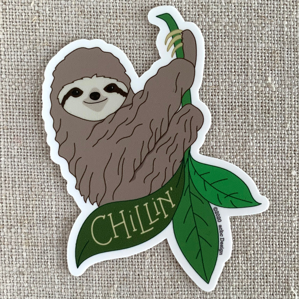 Chillin' Sloth Vinyl Sticker