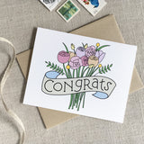 Congrats Bouquet Wedding Card