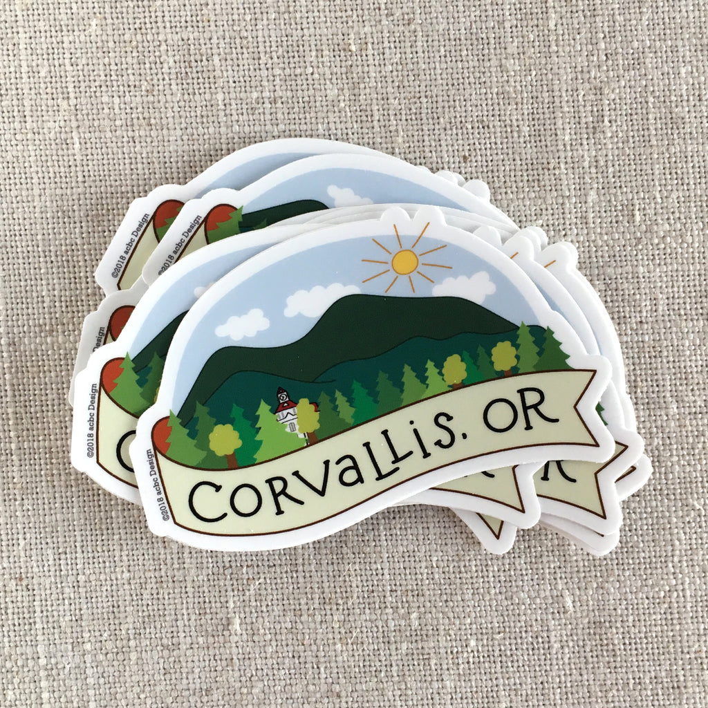 Corvallis, OR Marys Peak Vinyl Sticker