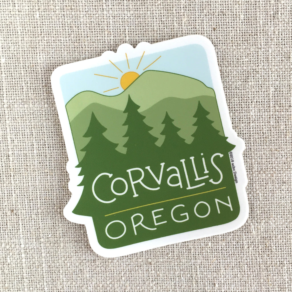 Corvallis Oregon Trees Vinyl Sticker