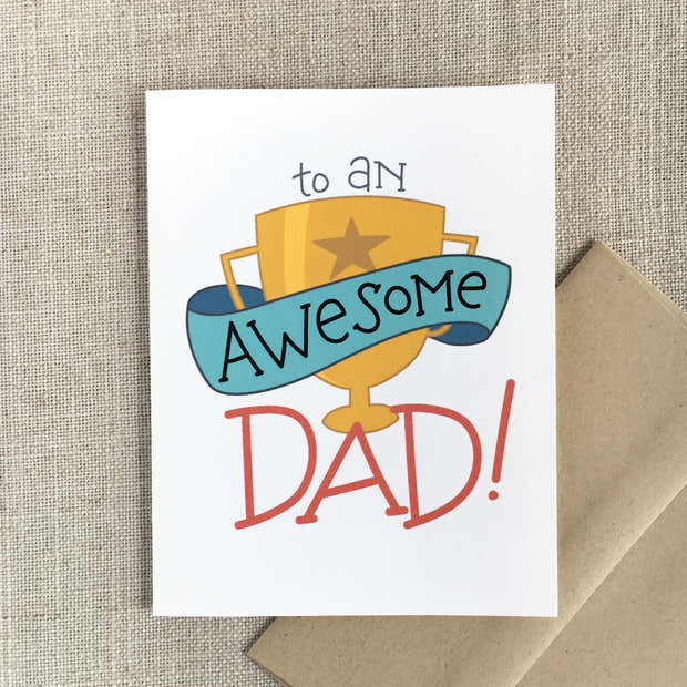 Awesome Dad Trophy Father's Day Card 1