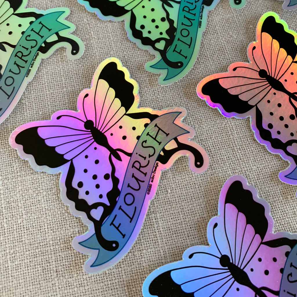 Flourish Butterfly Holographic Vinyl Sticker
