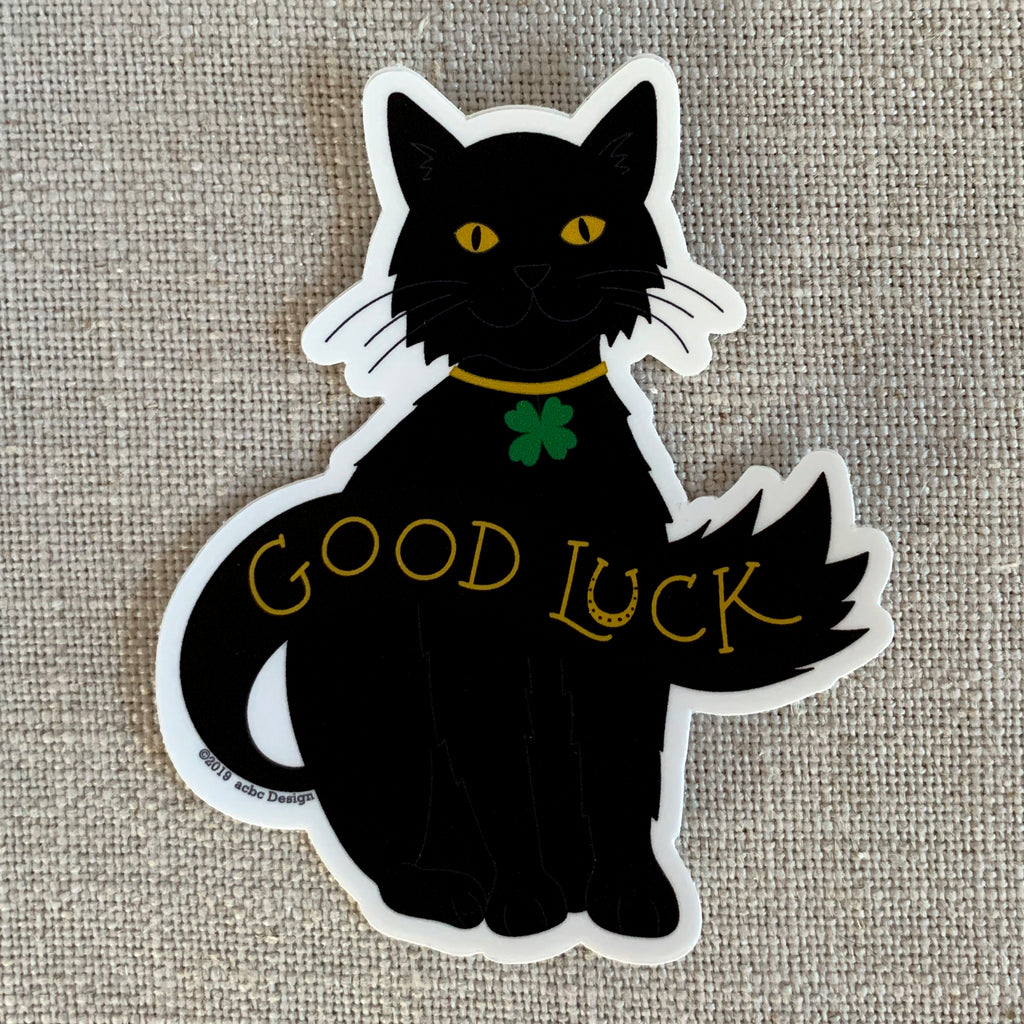 Good Luck Kitty Vinyl Sticker