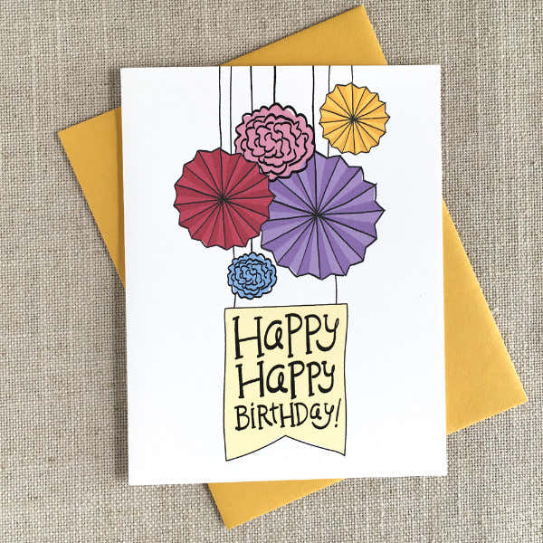 Paper Fans Illustrated Birthday Card 1