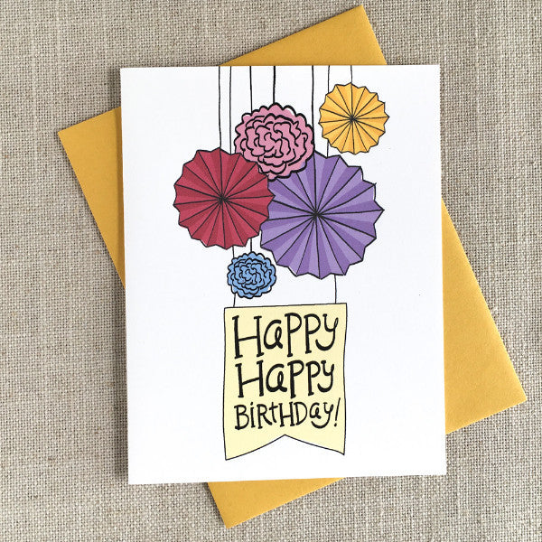 Paper Fans Illustrated Birthday Card