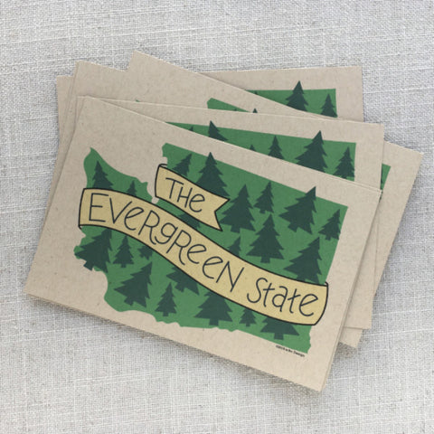 The Evergreen State Illustrated Postcards / Set of 6