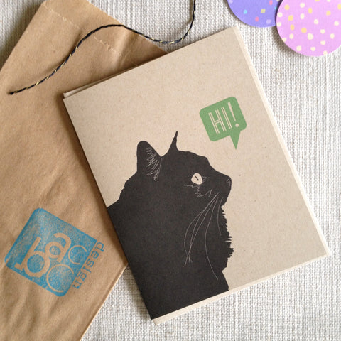 Black Kitty Says Hi / Blank Note Card