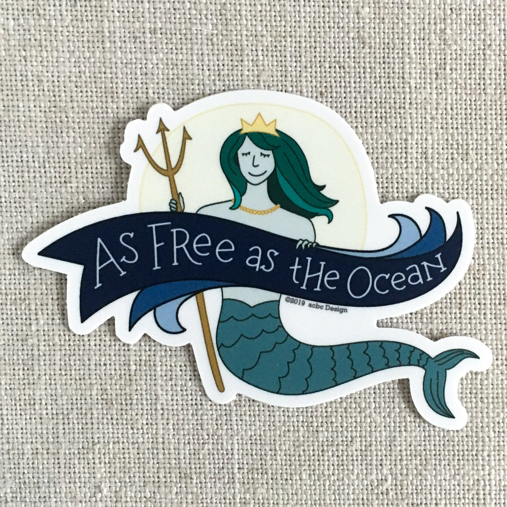 Mermaid As Free as the Ocean Vinyl Sticker