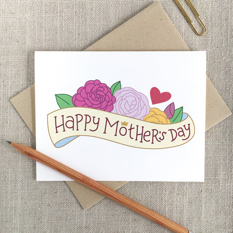 Illustrated Flowers Happy Mothers's Day Card