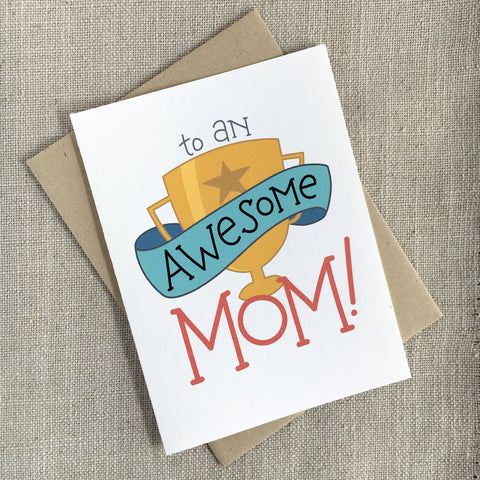 Awesome Mom Trophy Mother's Day Card