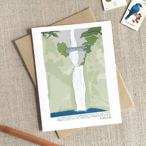 Illustrated Multnomah Falls Note Card