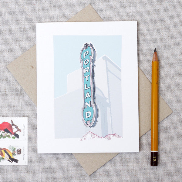 Illustrated Portland Sign Note Card