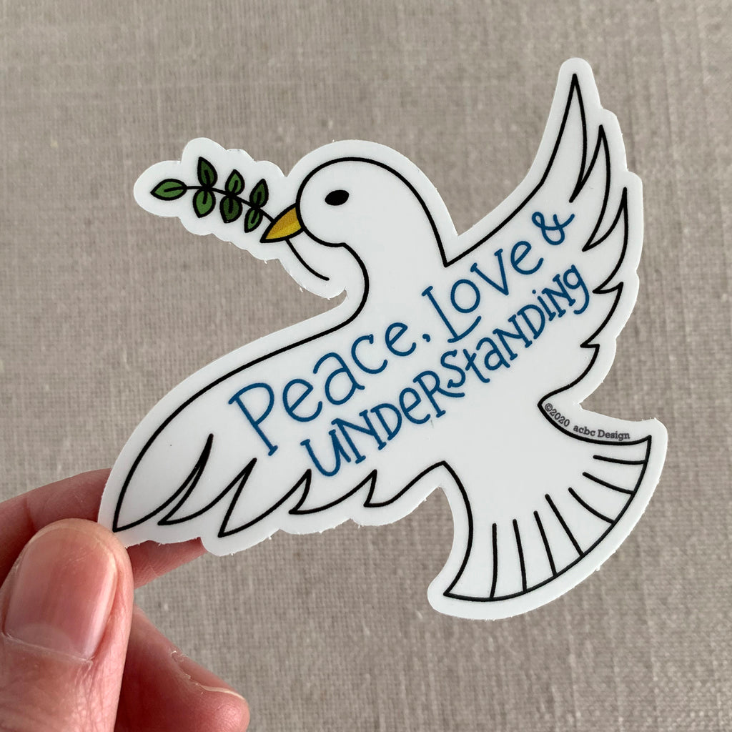 Peace, Love, Understanding Dove Vinyl Sticker