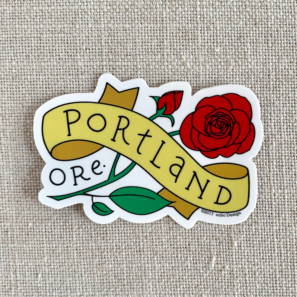 Portland Oregon Rose Vinyl Sticker