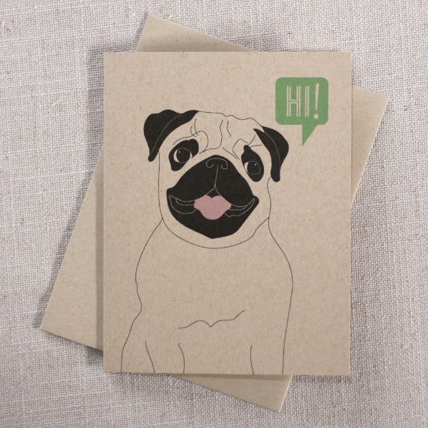 Pug Says Hi / Blank Note Card