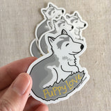 Puppy Love Husky Dog Vinyl Sticker