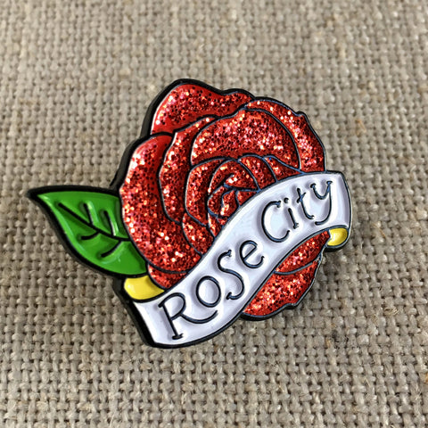 Rose City Glitter Pin