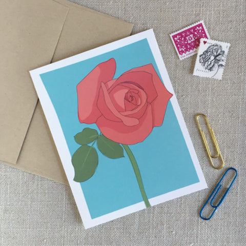 Illustrated Rose Note Card