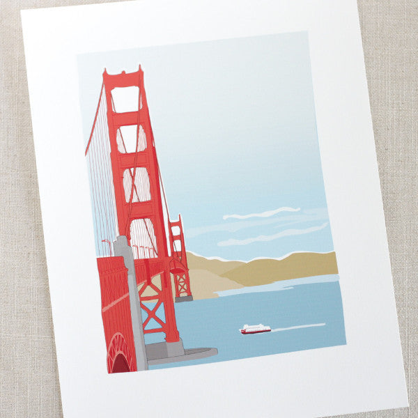 Golden Gate Bridge Illustrated Print / 8.5x11