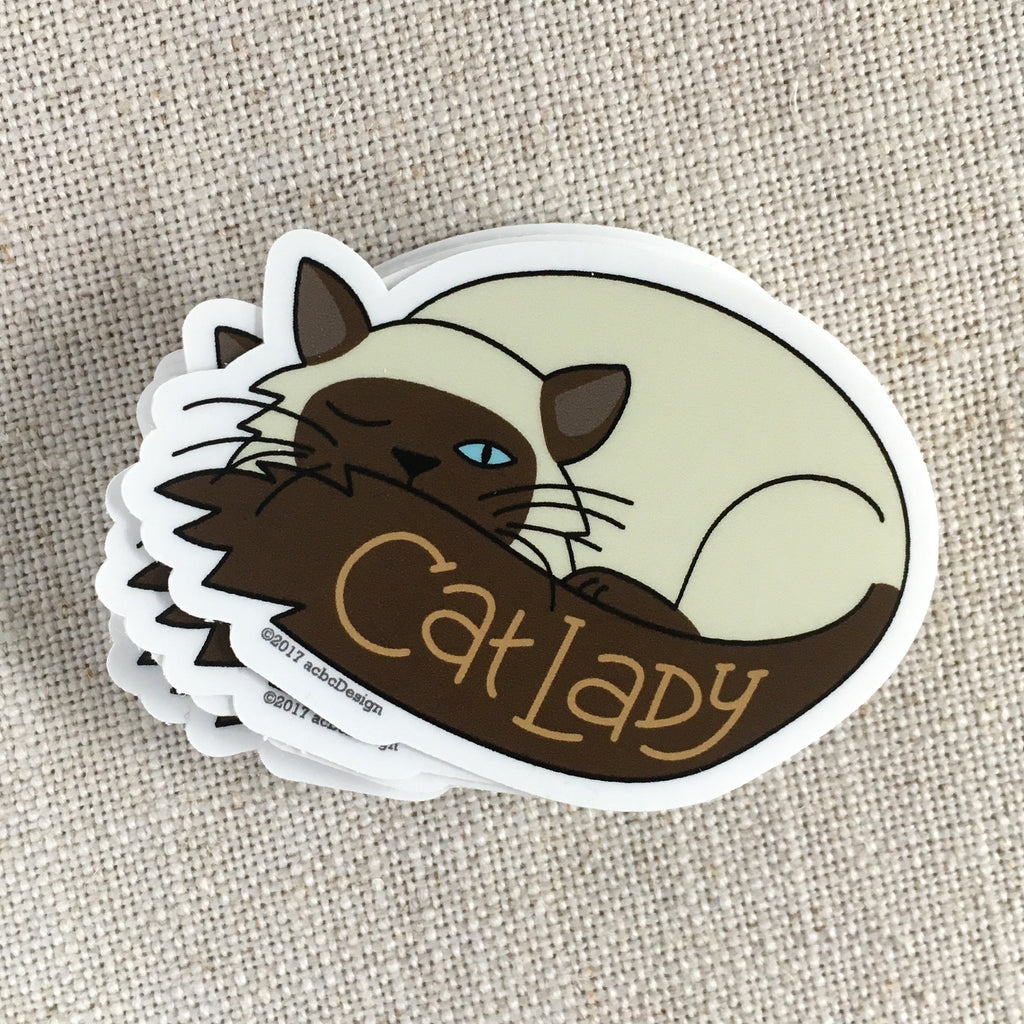 Siamese Cat Lady Vinyl Sticker