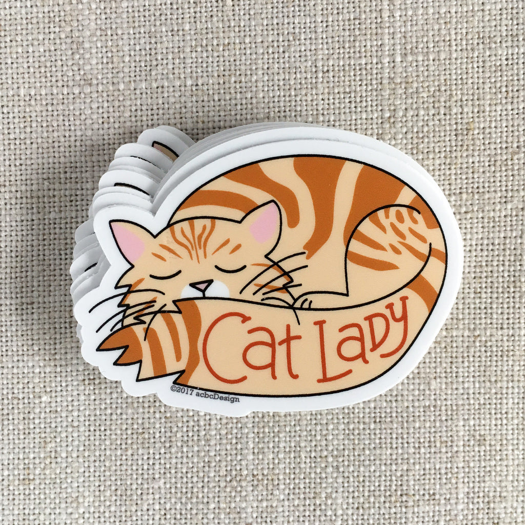 Tabby Cat Lady Vinyl Sticker