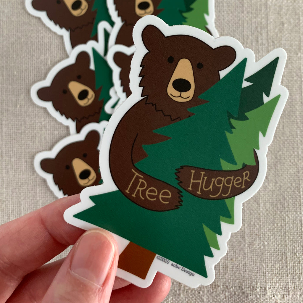 Tree Hugger Black Bear Vinyl Sticker