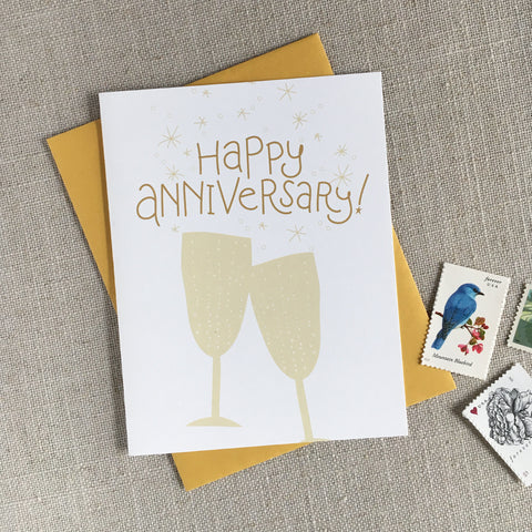 Champagne Toast Happy Anniversary Card