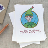 Illustrated Elf Christmas Card