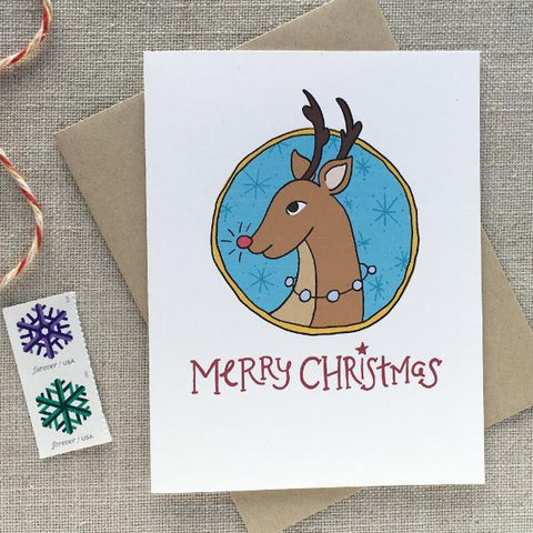 Illustrated Reindeer Christmas Card