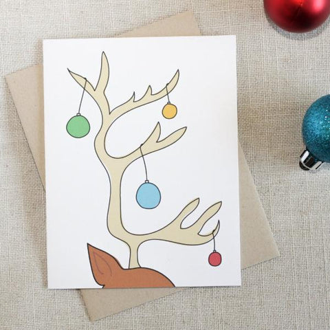 Decorated Reindeer Antlers Christmas Card