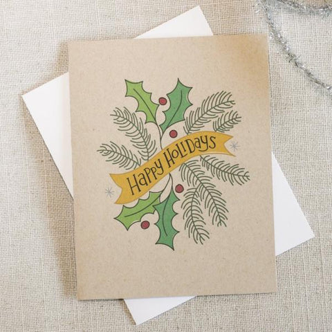 Happy Holidays Illustrated Swag Card