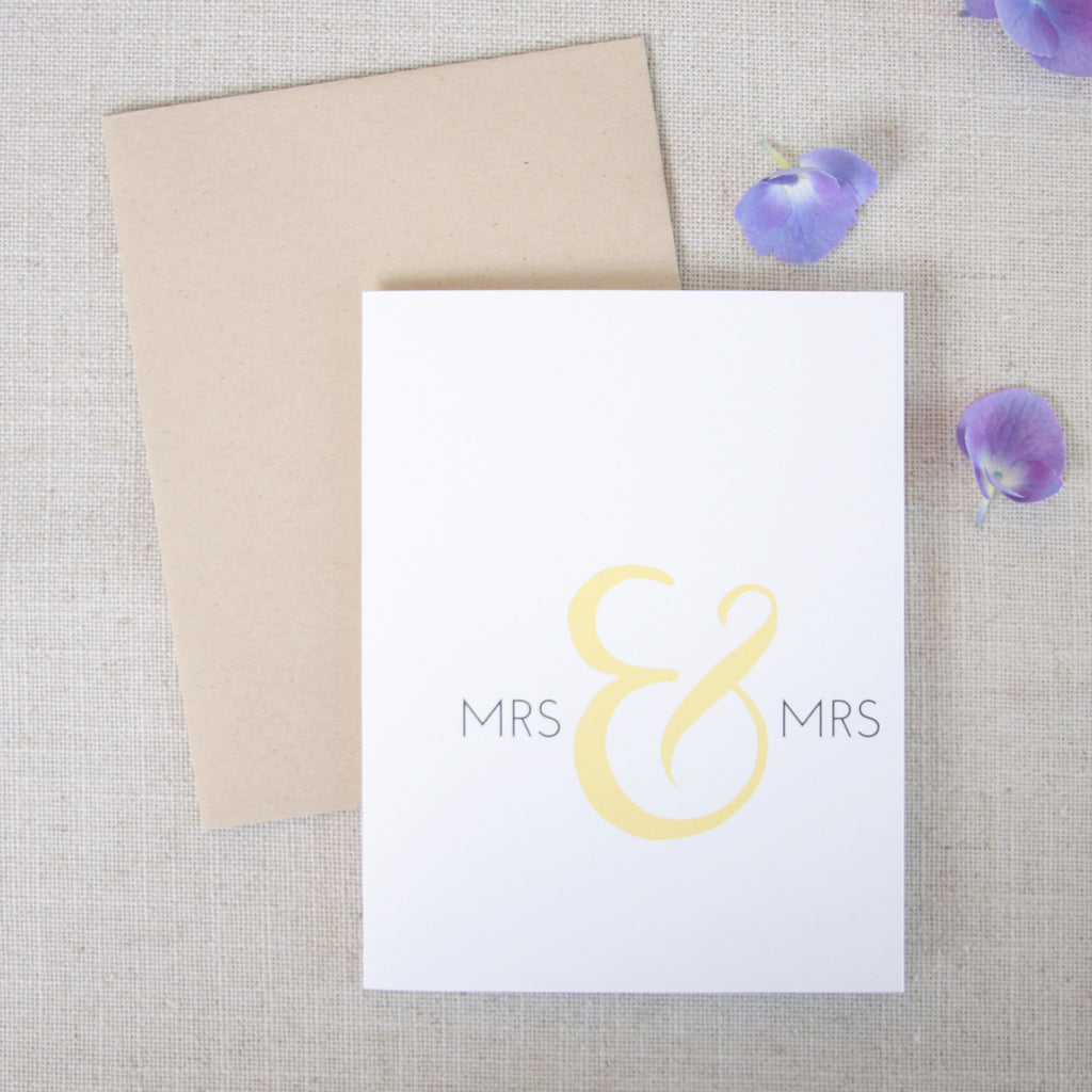 Mrs & Mrs Wedding Congratulations Card