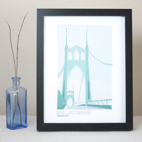 St Johns Bridge Illustrated Print / 8.5x11