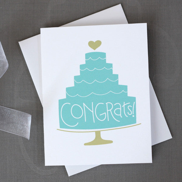 Blue Cake Wedding Congratulations Card