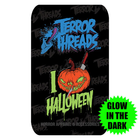 Limited Edition I Love Halloween Glow In The Dark Enamel Pin - TerrorThreads