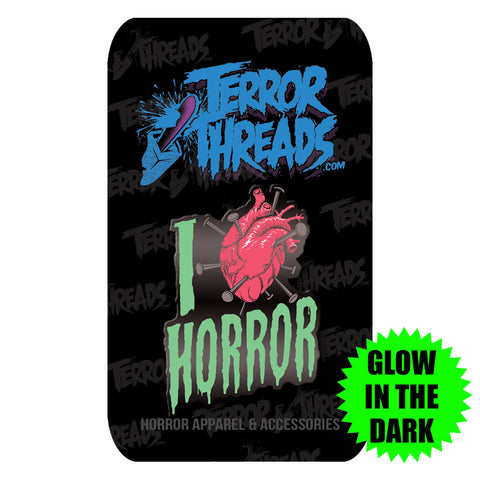 I Love Horror Glow In The Dark Enamel Pin - TerrorThreads - 1