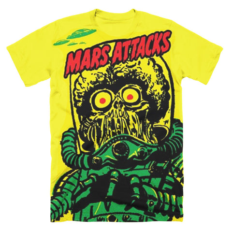 Mars Attacks Big Yellow Martian Subway T-Shirt - TerrorThreads