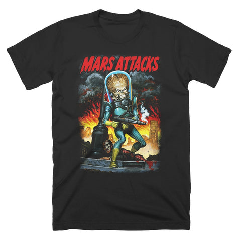 Mars Attacks City Destruction T-Shirt - TerrorThreads