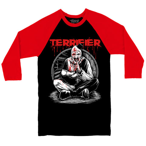 11b7c2dd70f Terrifier Art The Clown Hush Little Baby Horror Movie Baseball Raglan T- Shirt