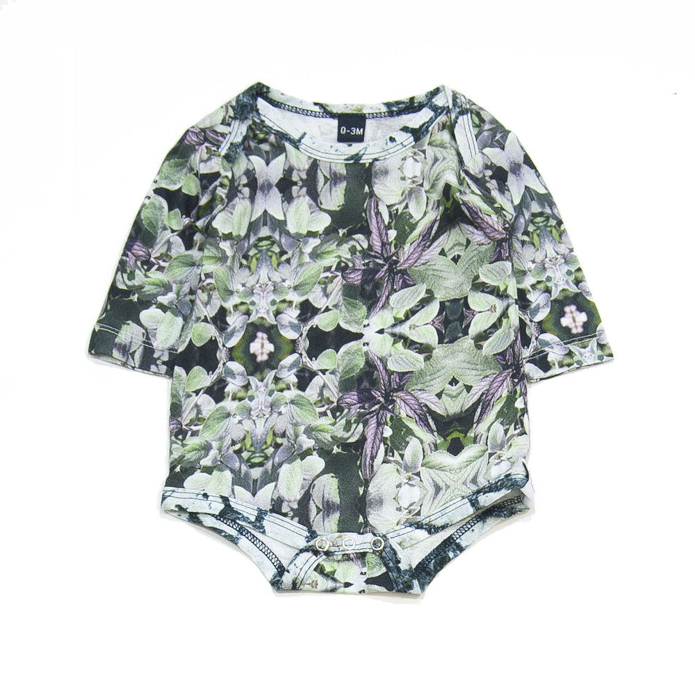 long slv onesie- Leaf Mint