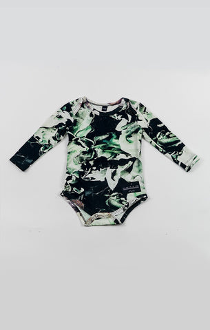 Long Slv Onesie - Fungi Emerald