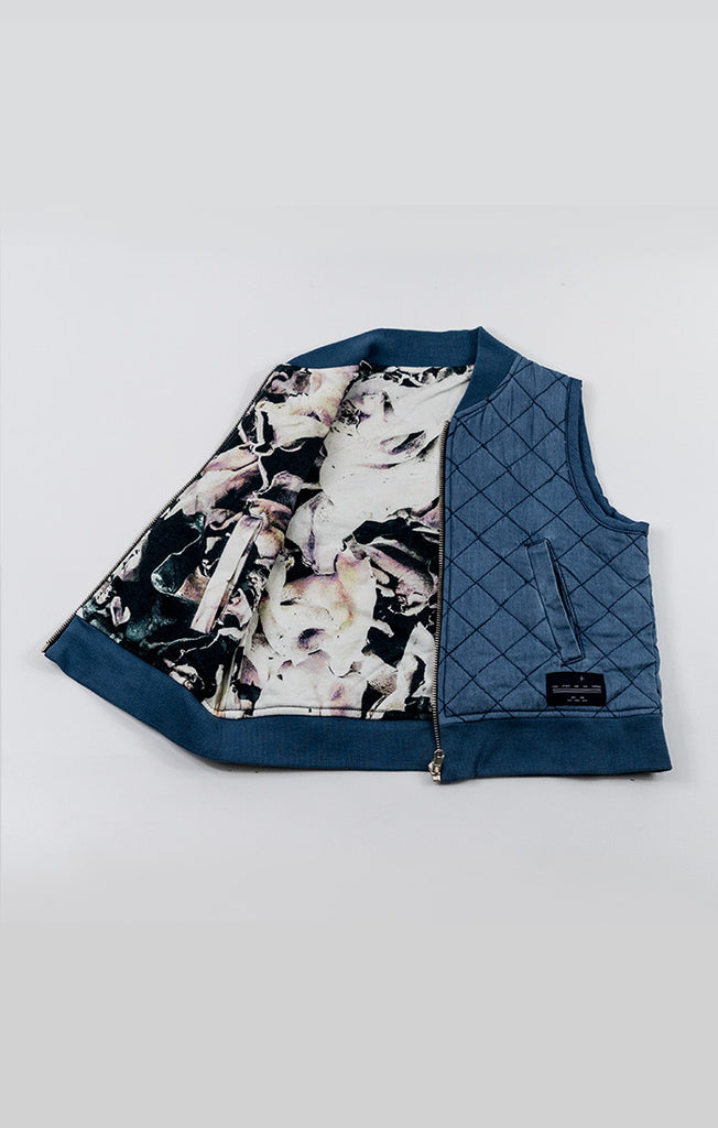2-Way Quilted Vest - Blue Denim