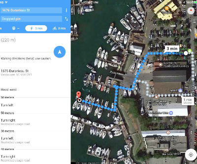 Dotted Walking Map of Joe's BBQ Boat Rentals location on Granville Island