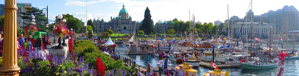 Victoria BC harbour view with government building in the back