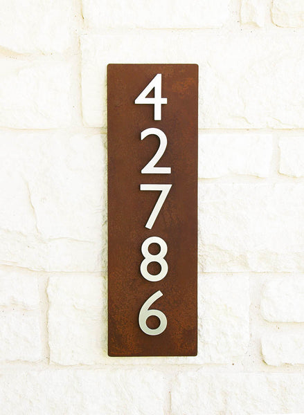 "Cinco Address Plaque (26""H x 8""W) - with Silver or Brass Numbers"