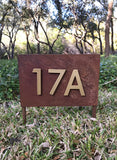 Sunset Valley Yard Sign w/ Silver or Brass Numbers