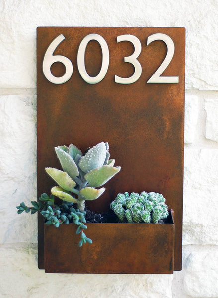 "East Side Planter (20""H x 12""W) w/ Numbers"
